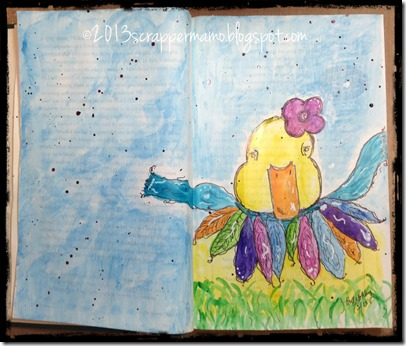 water colored duckling sketch in book art journal