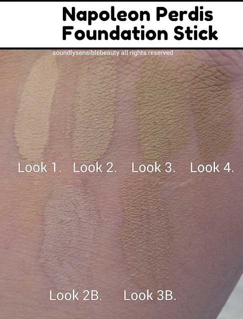 Napoleon Perdis Foundation Stick; Swatches of Shades & Review. Look 1, Look 2, Look 3, Look 4, Look 2B, Look 3B,
