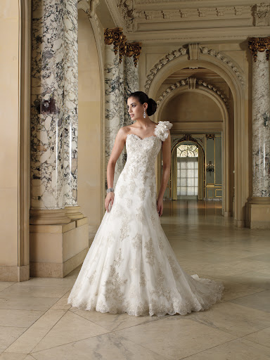 The darker beading on this David Tutera gown really adds drama.