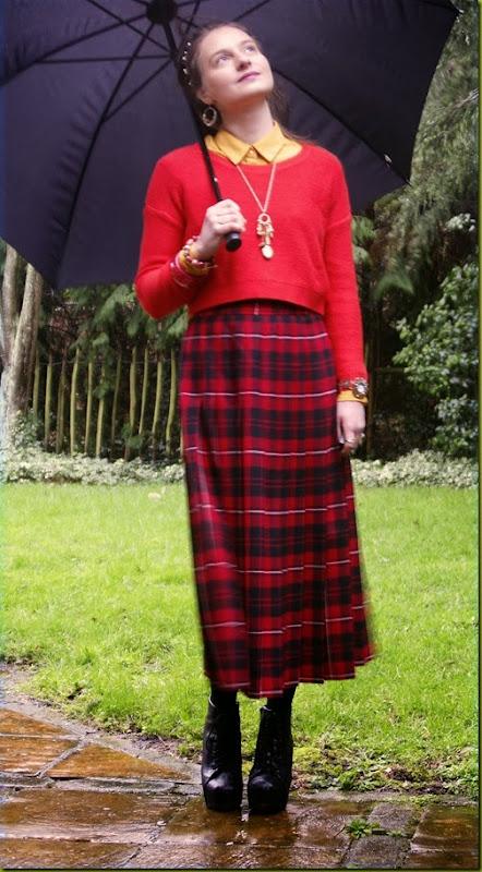 red vintage tartan skirt