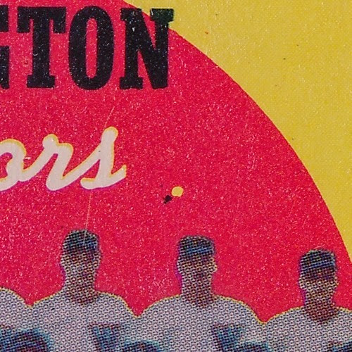 1959 Topps 397 Washington Senators Team and Checklist variation background