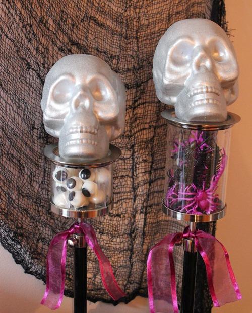 ghouls rule black purple silver glam halloween party skulls skeletons