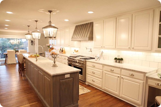 white kitchen gray cabinets