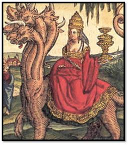 La Papisa Juana como ramera de Babilonia, Biblia luterana de 1534.