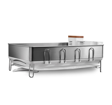The steel frame dishrack has a coating to protect against fingerprints and hooks that fold away when not in use.  Its larger size is great if you don't have a dishwasher and mostly hand wash.
