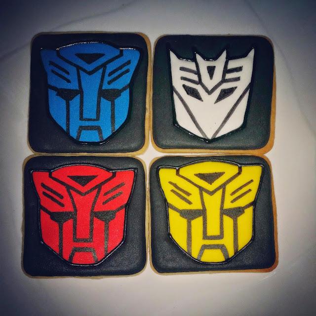 transformers cookies - decepticon logo, autobot logo
