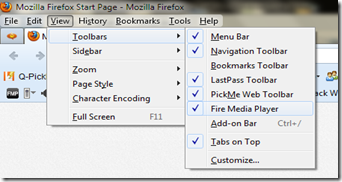 Tools bar firefox