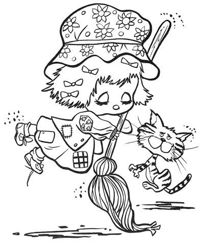desenhos-para-colorir-menina-dançando-gato-vassoura