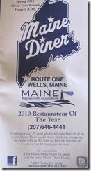 11.2011 Maine Diner menu