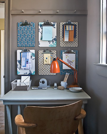 Use decorative paper (or wallpaper leftovers or samples) to brighten basic clipboards.