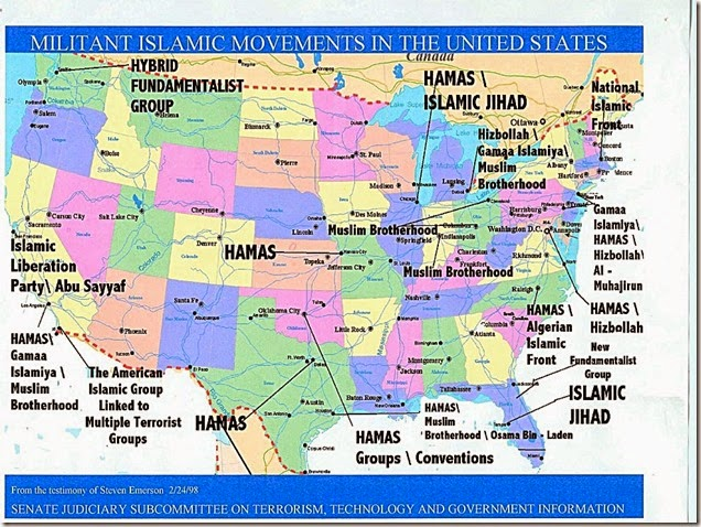 Islamic Terrorist Cells in the US Map