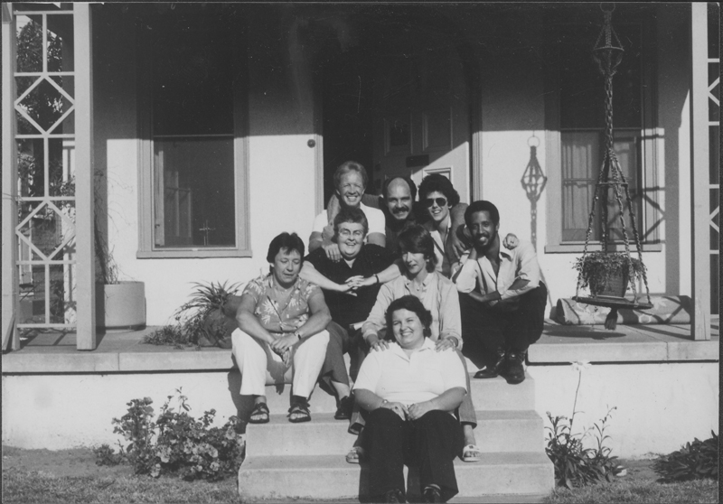 First staff of the Community Yellow Pages. Back row (left to right): unknown, Phil Gonzalez, Jeanne Cordova. Mid-row: Hillary Hanft, Ivy Bottini, Jean Hunter, unknown. Front: Karen Kircher. Fall 1981.