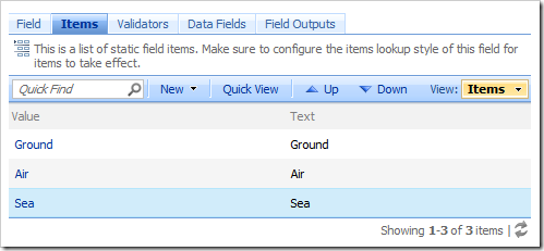 Three new data items for field