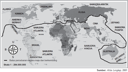 Persebaran secara umum negara-negara maju dan berkembang