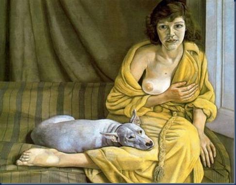 mujer con perro blanco