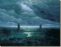 Caspar-David-Friedrich.-Rivages-avec-la-lune-cachée-par-des-nuages.-1836
