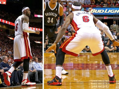 lebron james nba 140408 mia vs bkn 00 King James Laces Up Two Pairs of New Soldier 7 PEs vs. Brooklyn