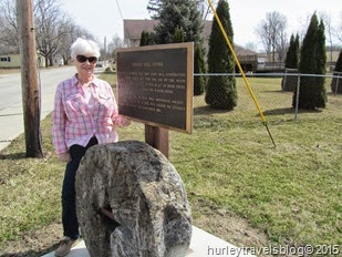 Nancy Hurley in Markle, Indiana, at the site of an old grist mill stone on the Wabash River.