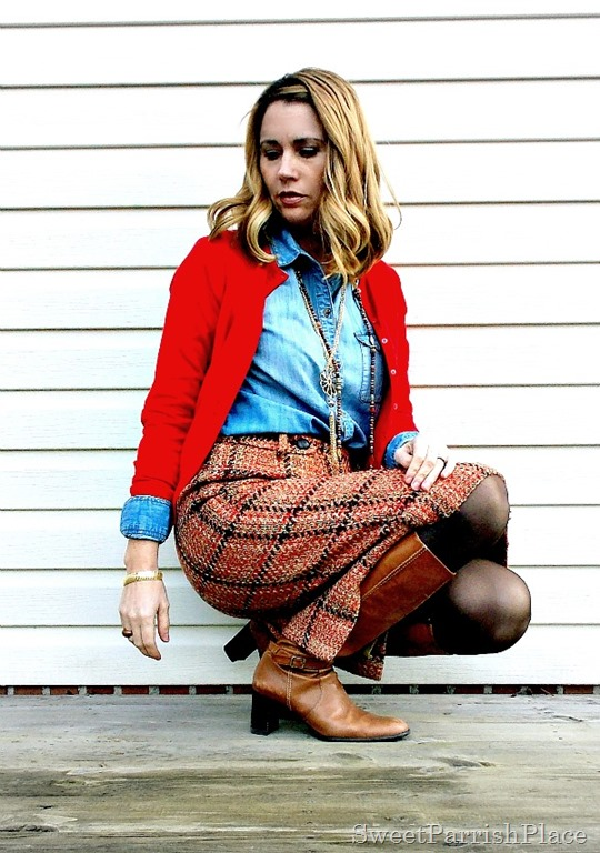 plaid tweed skirt, denim shirt, red cardigan and tall boots1