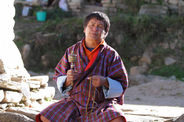 Praying Bhutanese Man at Kyichu Lakhang, Paro