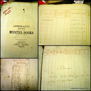 Kew - muster books for HMS Neptune when looking for Griffith Ellis