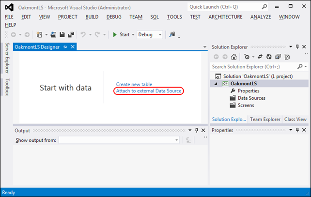 A visual studio 2012 lightswitch app with real world data dzone click the attach to external data source button to open the attach data source wizard dialog with the default database icon selected ccuart Images
