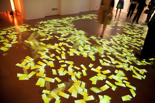 We had a fun light installation of confetti. When you walked over it, it moved. Lighting by Levy Lighting NYC.