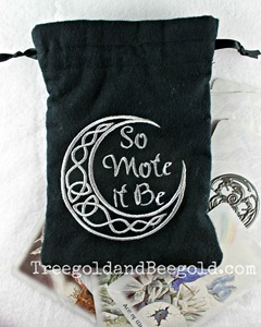 So Mote it Be Embroidered Celtic Moon Tarot or Rune Bag by Treegold and Beegold