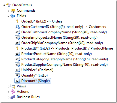 Discount field node in OrderDetails controller in the Project Explorer of Code On Time web application Designer.