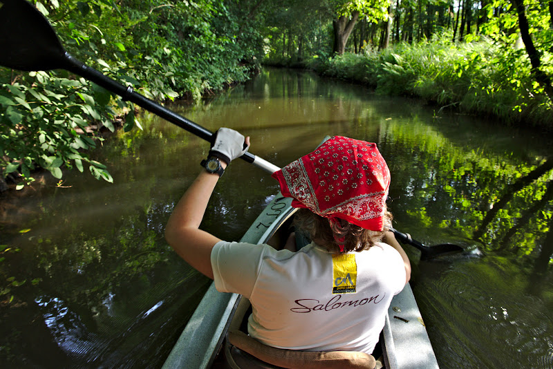 Paddling through the canals of Spreewald, near Berlin in Germany.