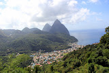 Our First View Of The Pitons - Castries, St. Lucia