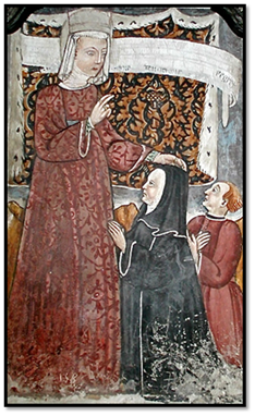Guglielma imponiendo las manos a Maifreda de Pirovano, iglesia de san Andrea, en Brunate, sig. XV.