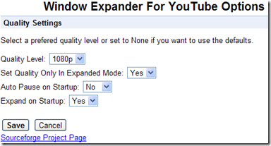Window Expander For YouTube Opzioni