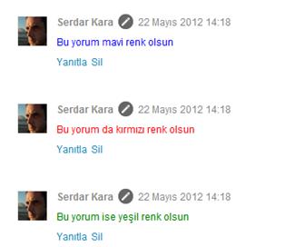 Blogger Renkli Yorum Yazma