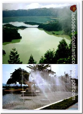 Imagem de mosaico com fotos das lagoas das Sete Cidades nos Açores e do Chafariz da Fonte do Sapo em Santos em São Paulo