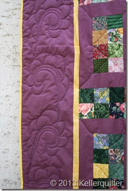 Quilt077-grüne Scraps in Lila Detail