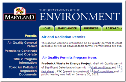 Maryland Department of Environment Air and Radiation Permits