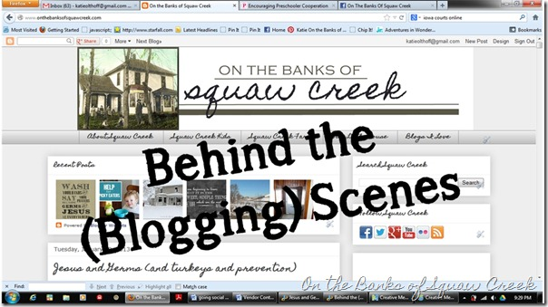 behind the blogging scenes - On The Banks of Squaw Creek