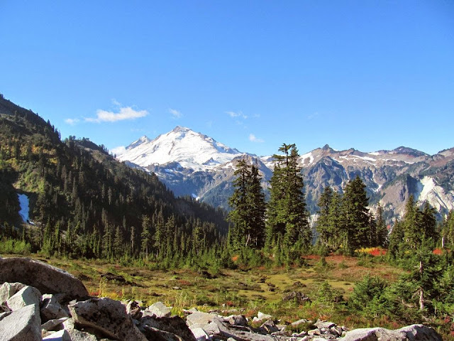 Sept/Oct 2013 - 3rd Place / Mt Baker from Lake Ann trail in fall / Credit: April Miles