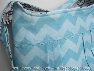 aqua chevron bag ric rac trim
