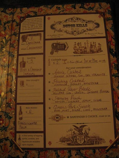 The menu of special cocktails at Dutch Kills is revised frequently.