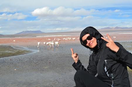 Alexandra Kovacova in Laguna Colorada, Uyuni, Bolivia