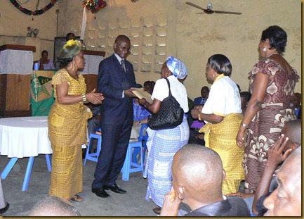Gifts to pastor Kabondo
