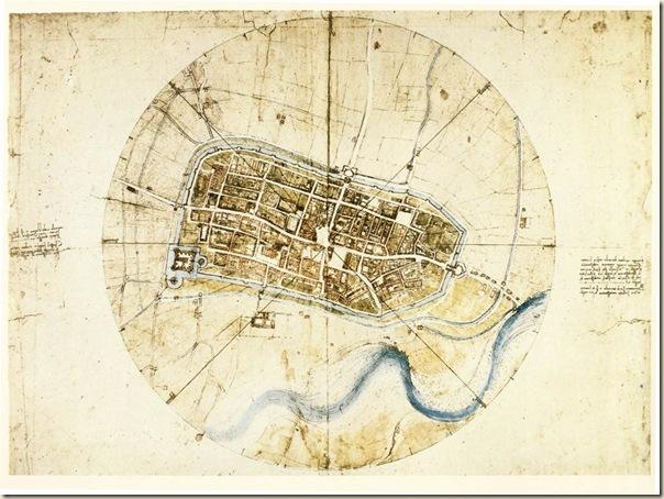 Carte de la ville d'Imola, Leonard de Vinci