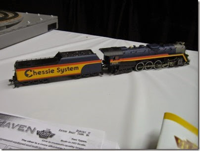 IMG_5324 HO-Scale Chessie Steam Special T-1 4-8-4 #2101 by Precision Craft Models at the WGH Show in Portland, OR on February 17, 2007