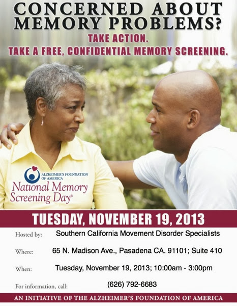 Free Confidential Memory Screenings at SoCalMDS November 19th