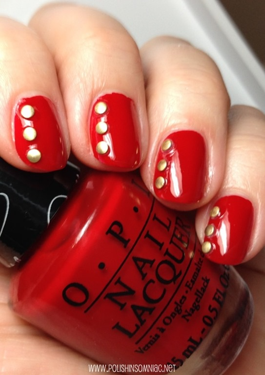 OPI Over & Over A-Gwen with Gold Studs