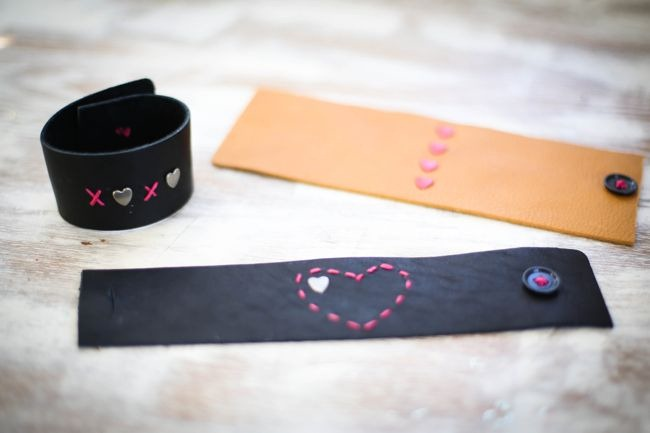 DIY Leather Heart Stitch Bracelets