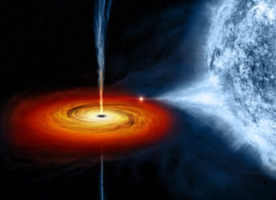 ilustração do buraco negro Cygnus X-1