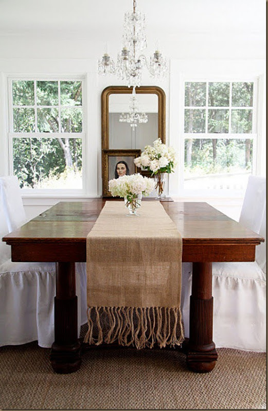 single layer burlap table runner